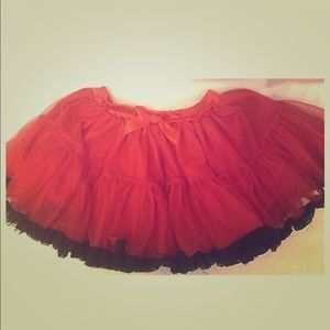 Girls Red Tutu Black Trim Glitter Sparkle Tulle